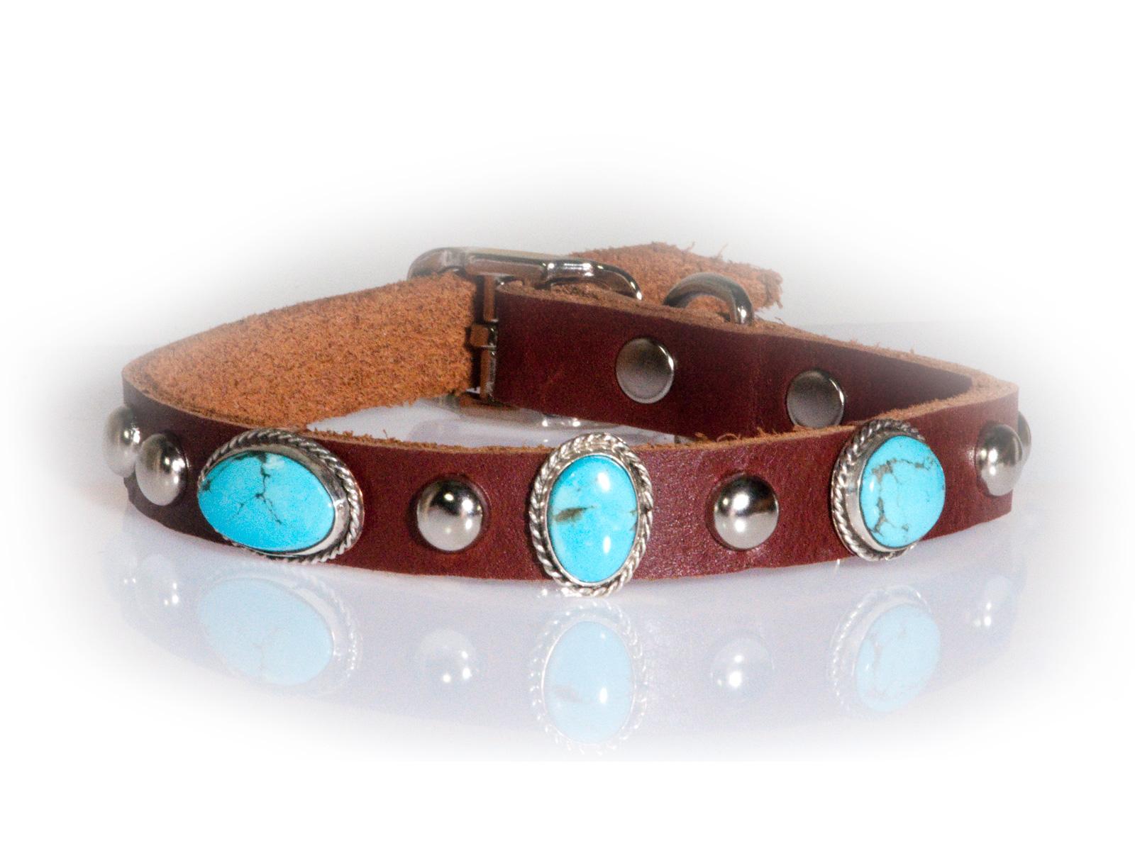 3 Stone Turquoise Dog Collar