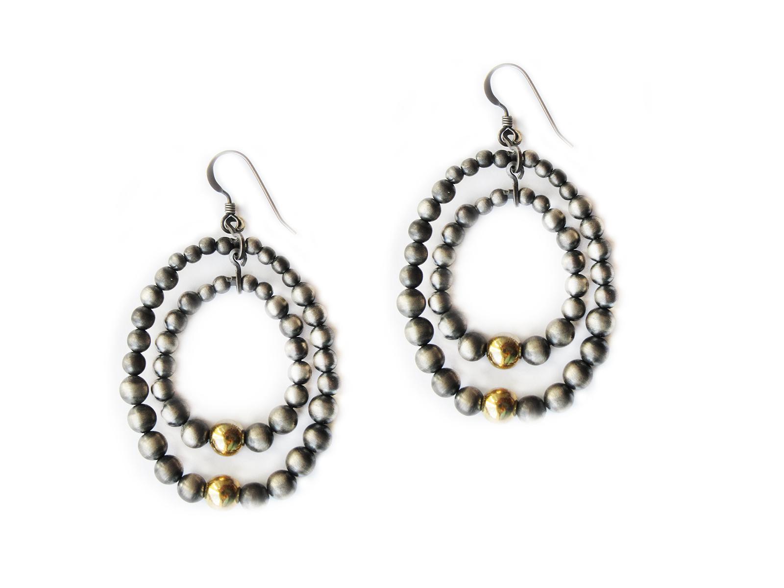 Double Hoop Oxidized Sterling Silver Bead Earrings