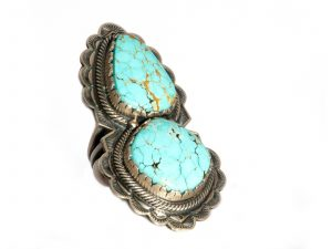Double Stone Number 8 Turquoise Ring