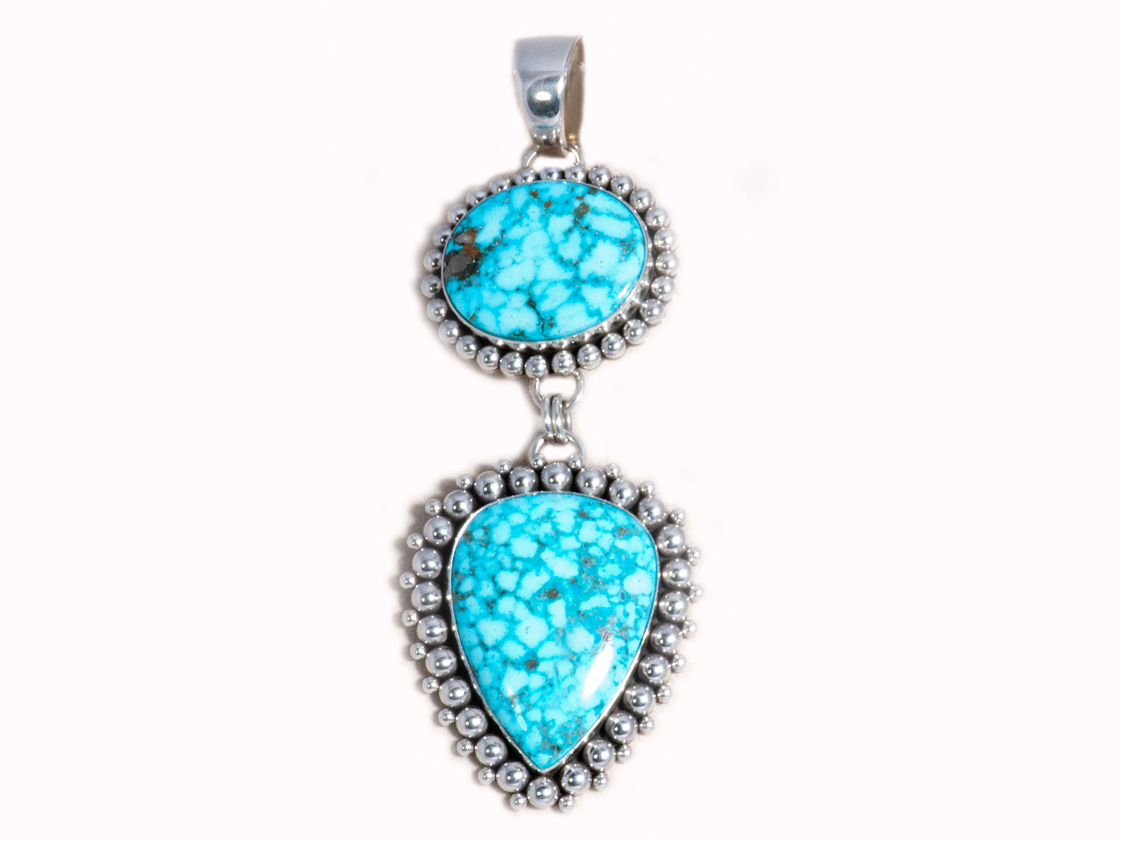 Sterling Silver 2 Stone Kingman Turquoise Pendant