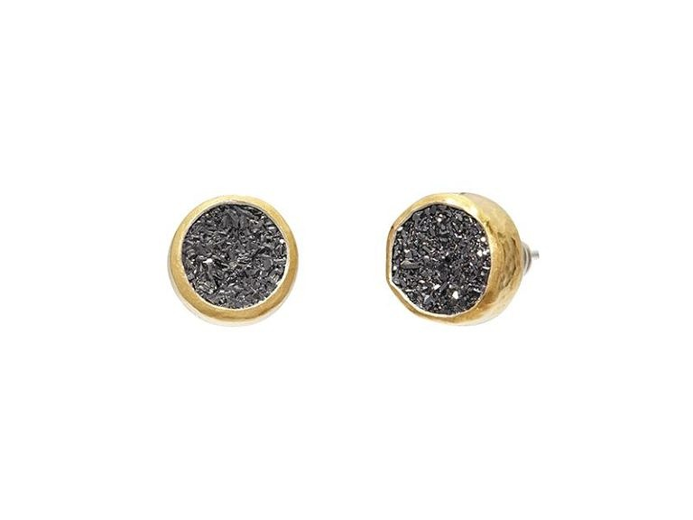 Gold Drusy Post Earrings