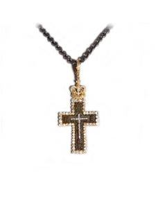 Ancient Bronze Golgotha Cross Pendant set in 14k Gold and Diamonds