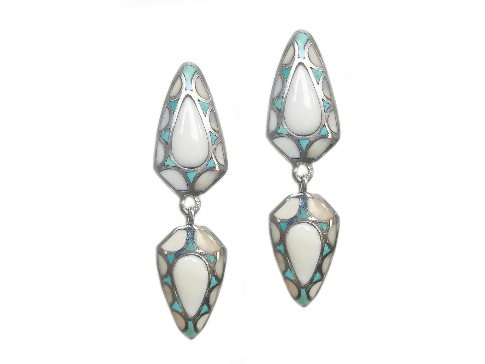 Walrus Tusk Turquoise Dangle Earring
