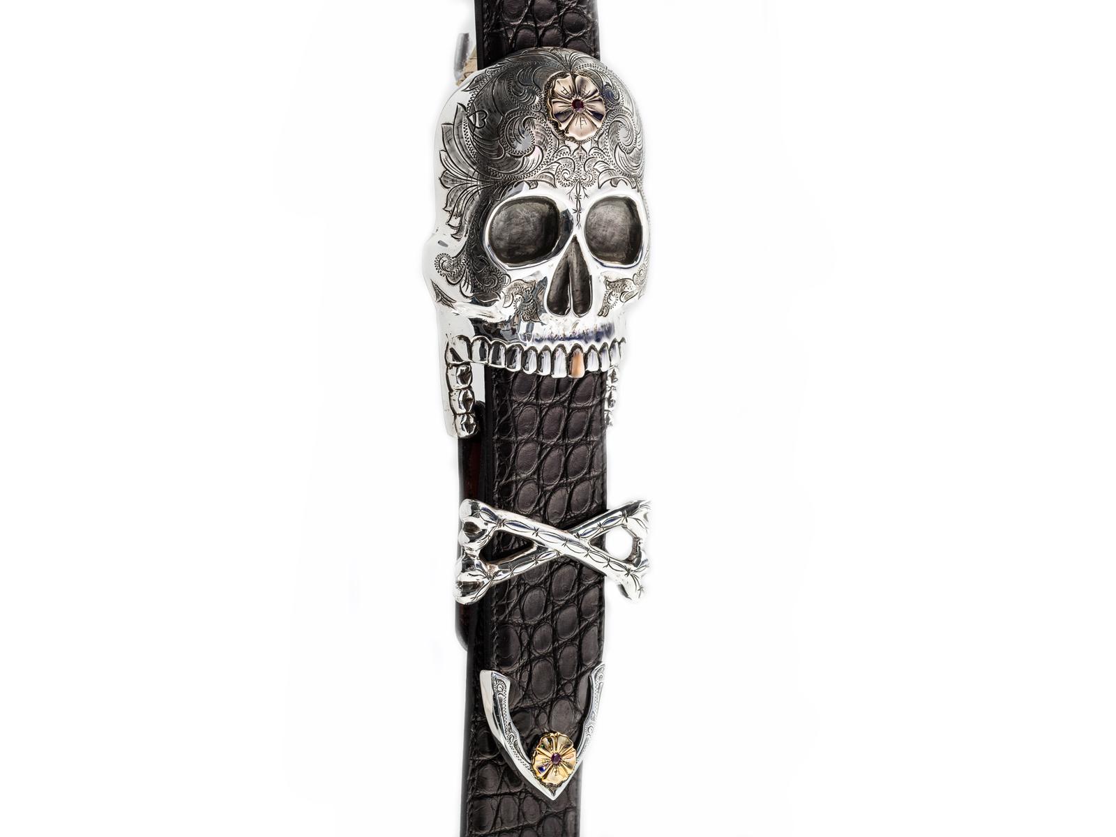 Skull Buckle Set By Santa Fe Artist Douglas Magnus
