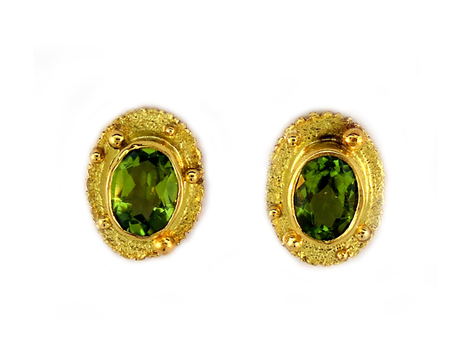 Gold Green Peridot Post Earrings