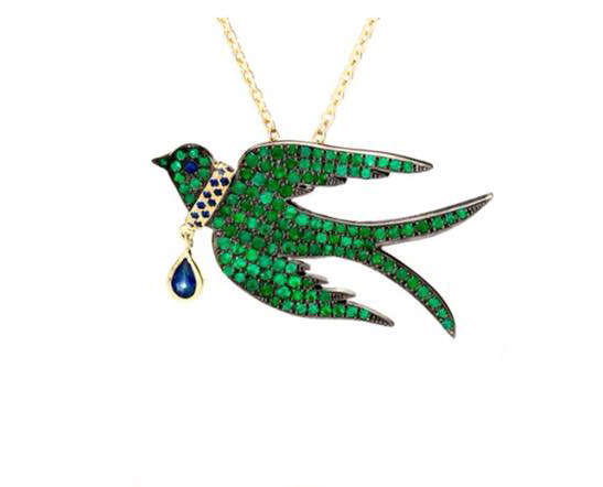Emerald Bird Necklace