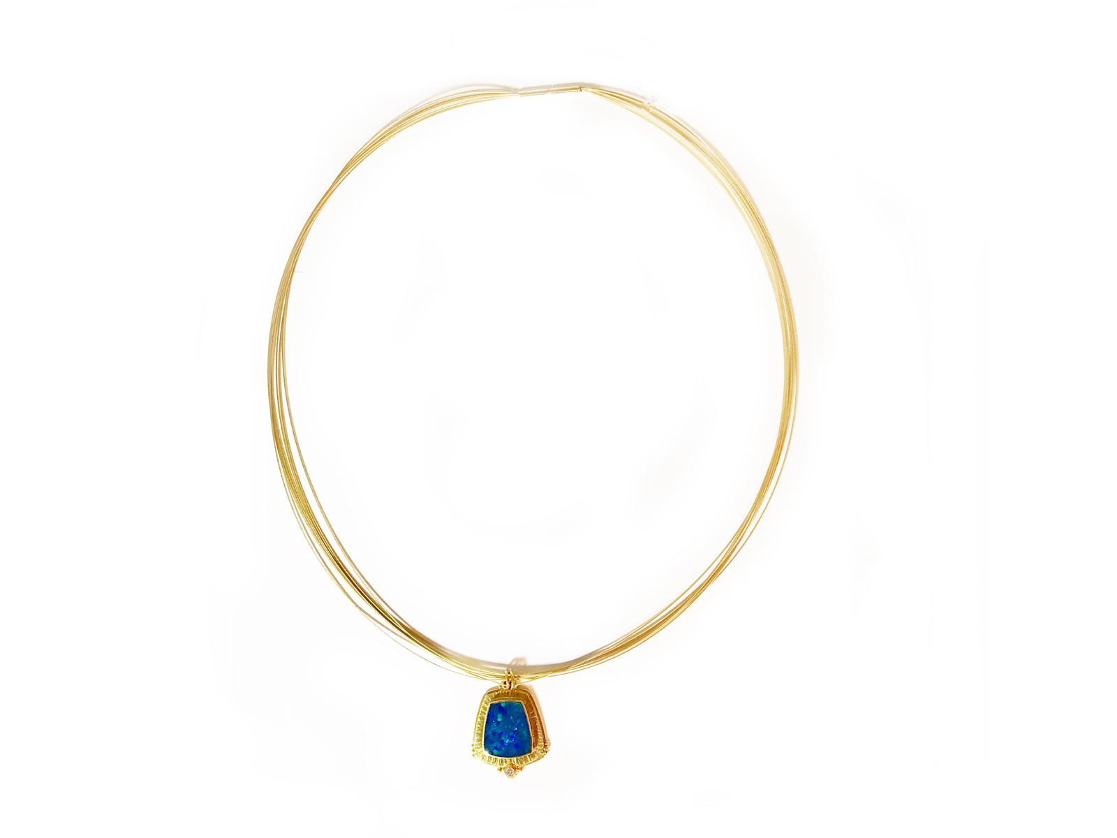 Ethiopian Opal Diamond Necklace