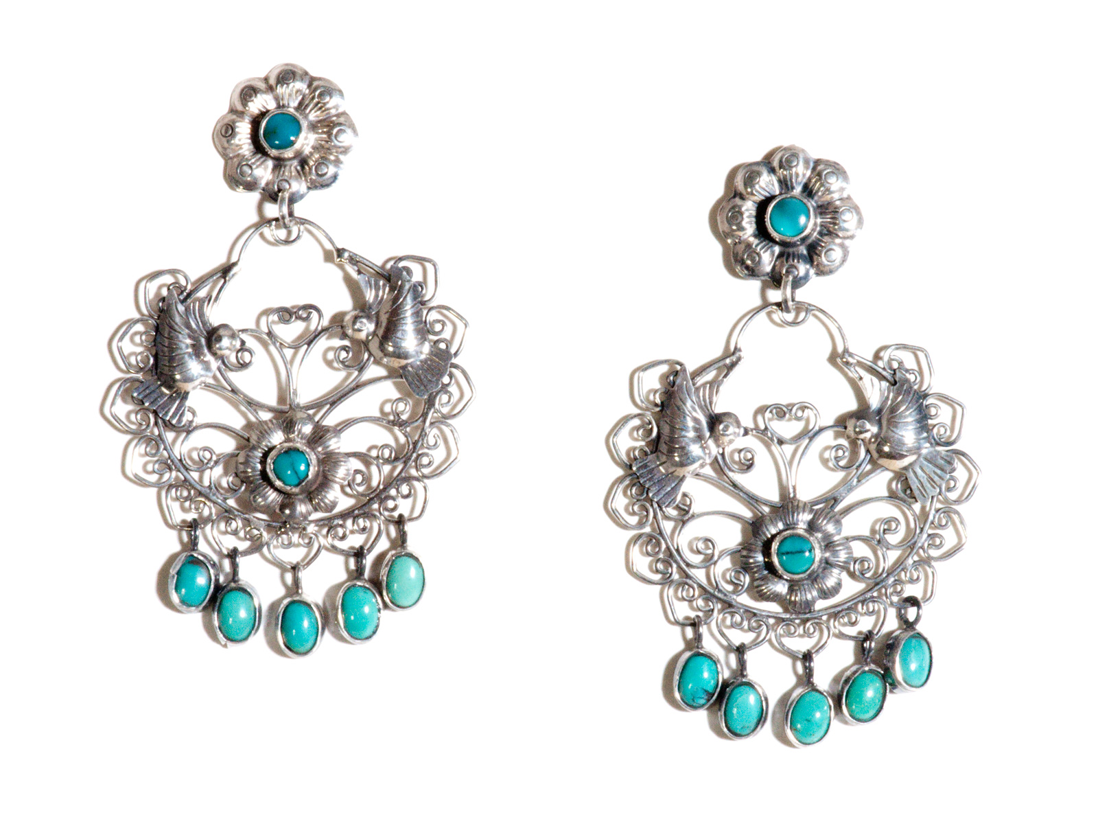 16ad7371a Filigree Earrings in Sterling Silver and Turquoise by Federico