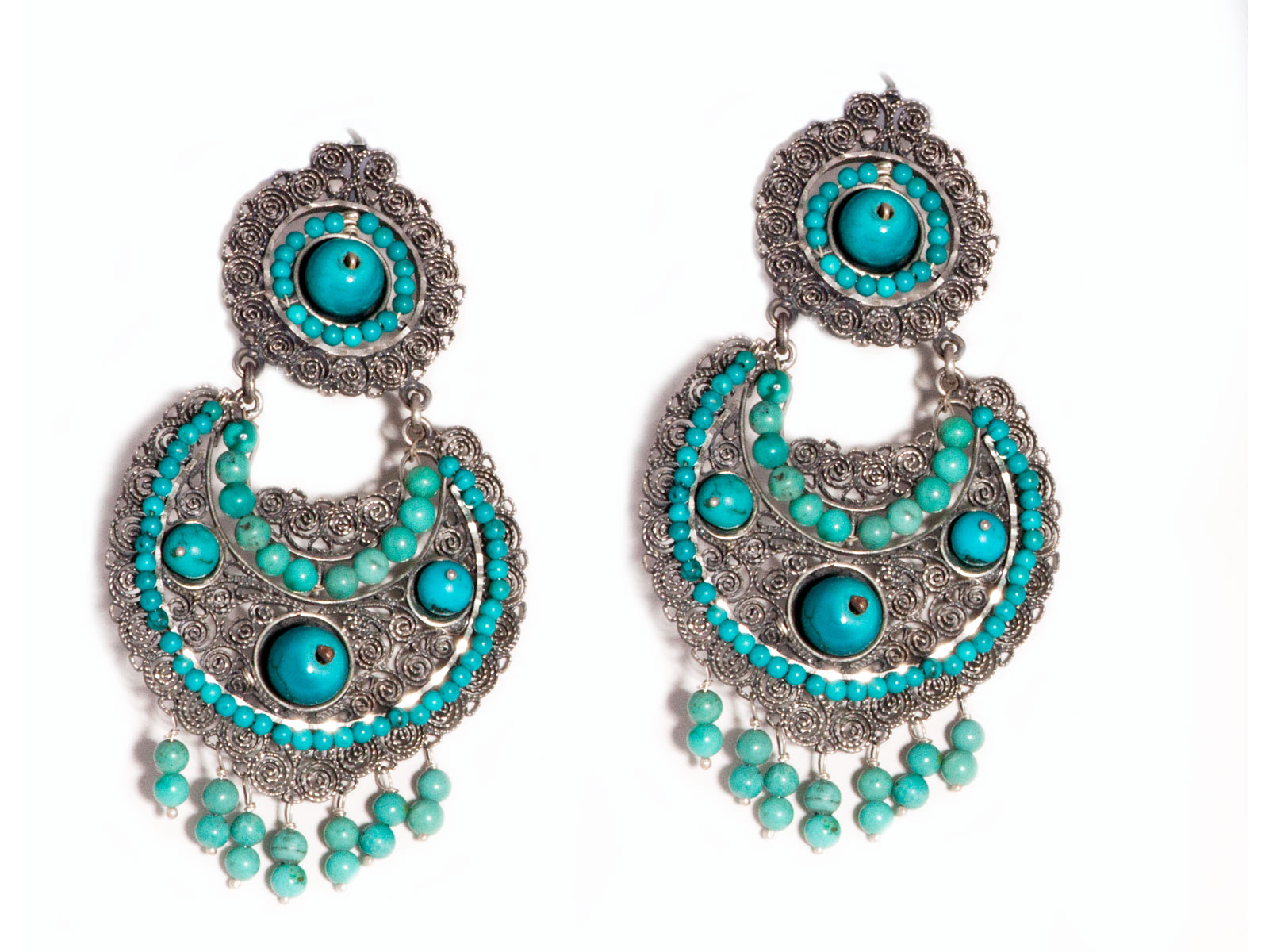 1adb9d8b5 Turquoise Filigree Dangle Earrings with Turquoise Beads from Federico