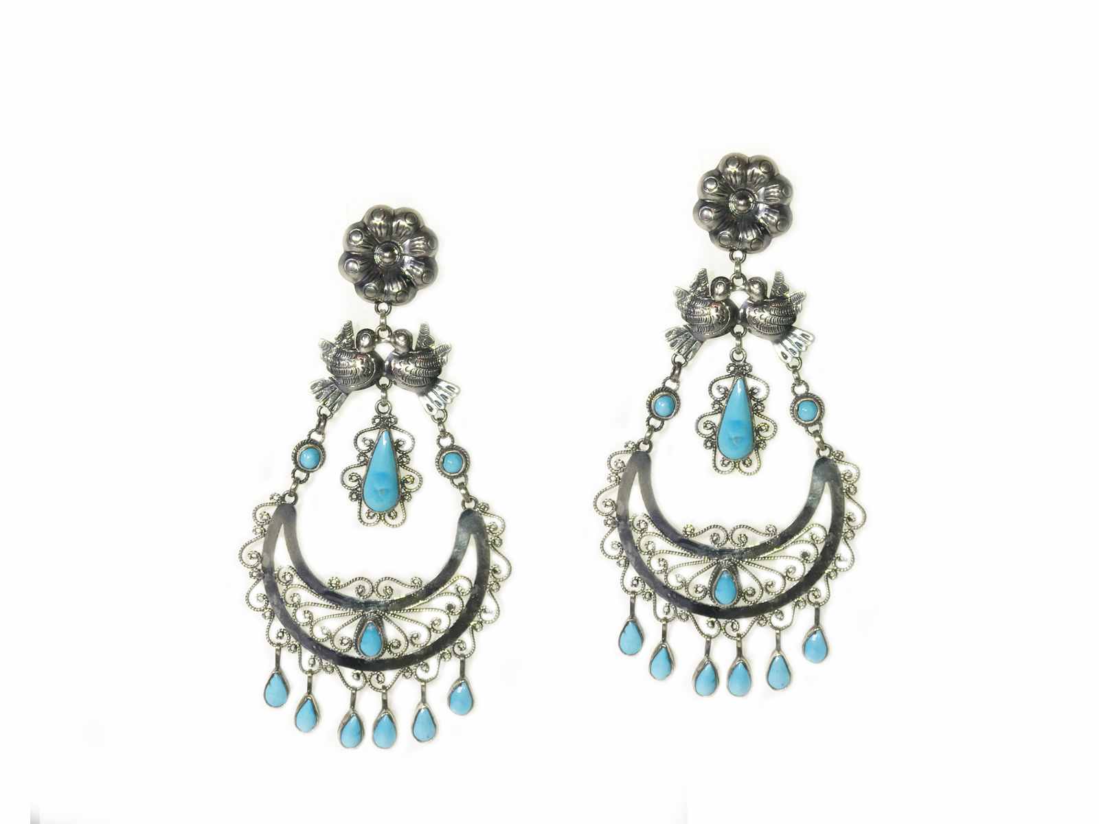 47fe2aa78 Sleeping Beauty Turquoise Filigree Earrings designed by Federico