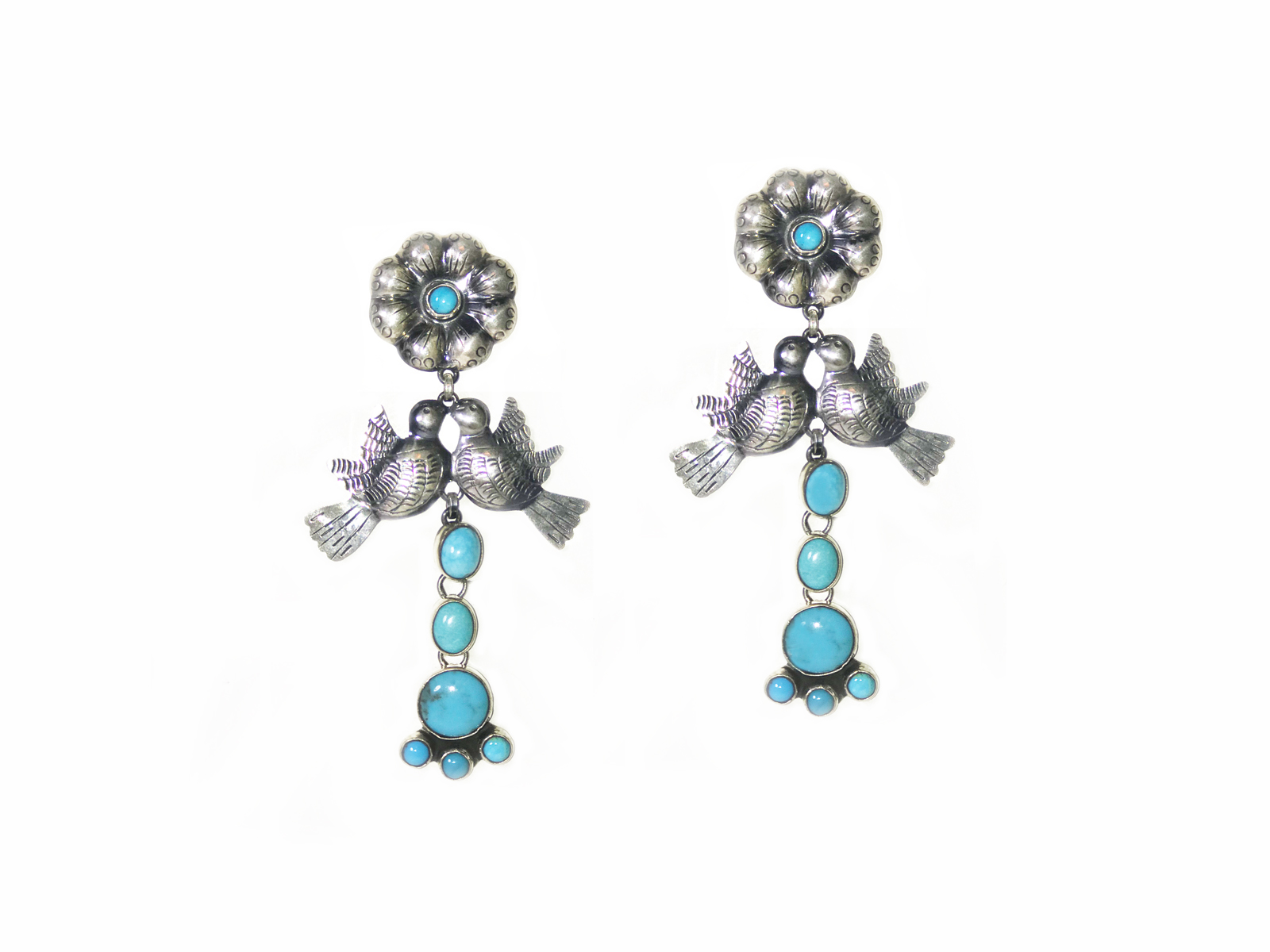 Kingman Turquoise Love Bird Earrings