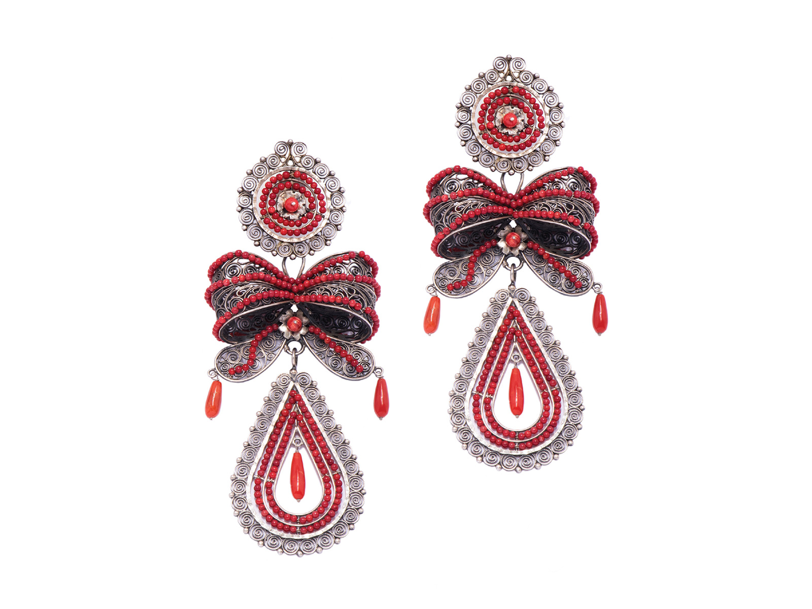 Filigree Coral Earrings