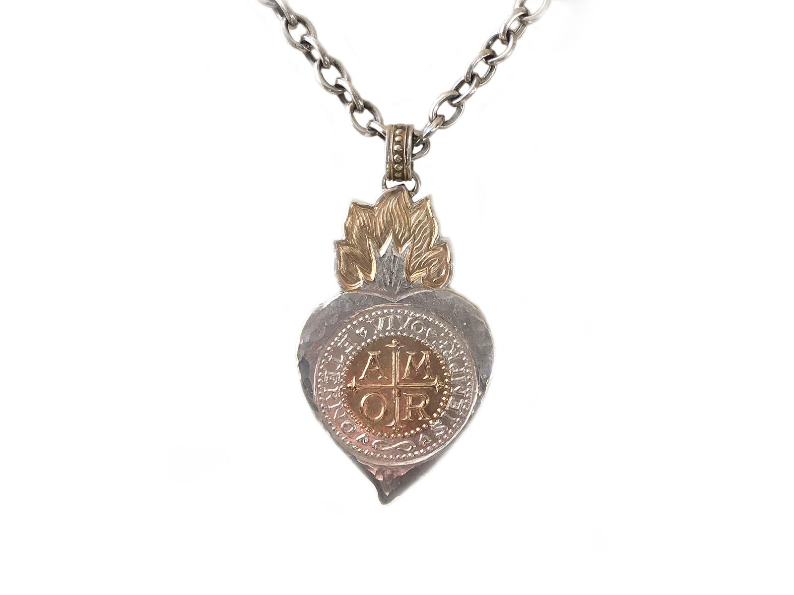 Gold Silver Flaming Heart Amor Pendant