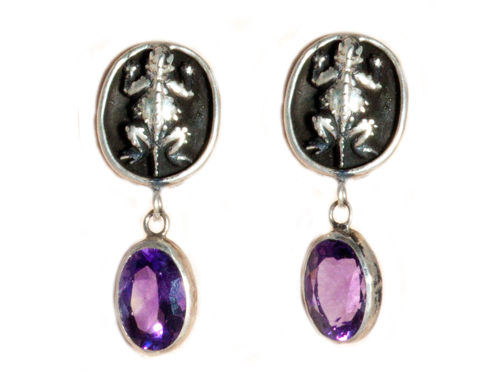 Horned Toad Amethyst Earrings