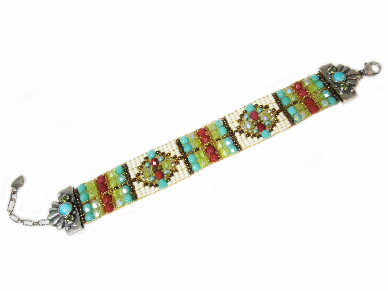 Turquoise White Beaded Bracelet