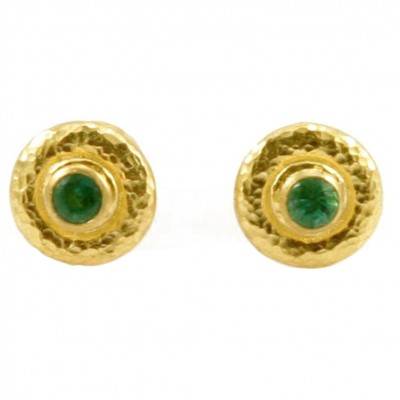 Gold Emerald Post Earrings