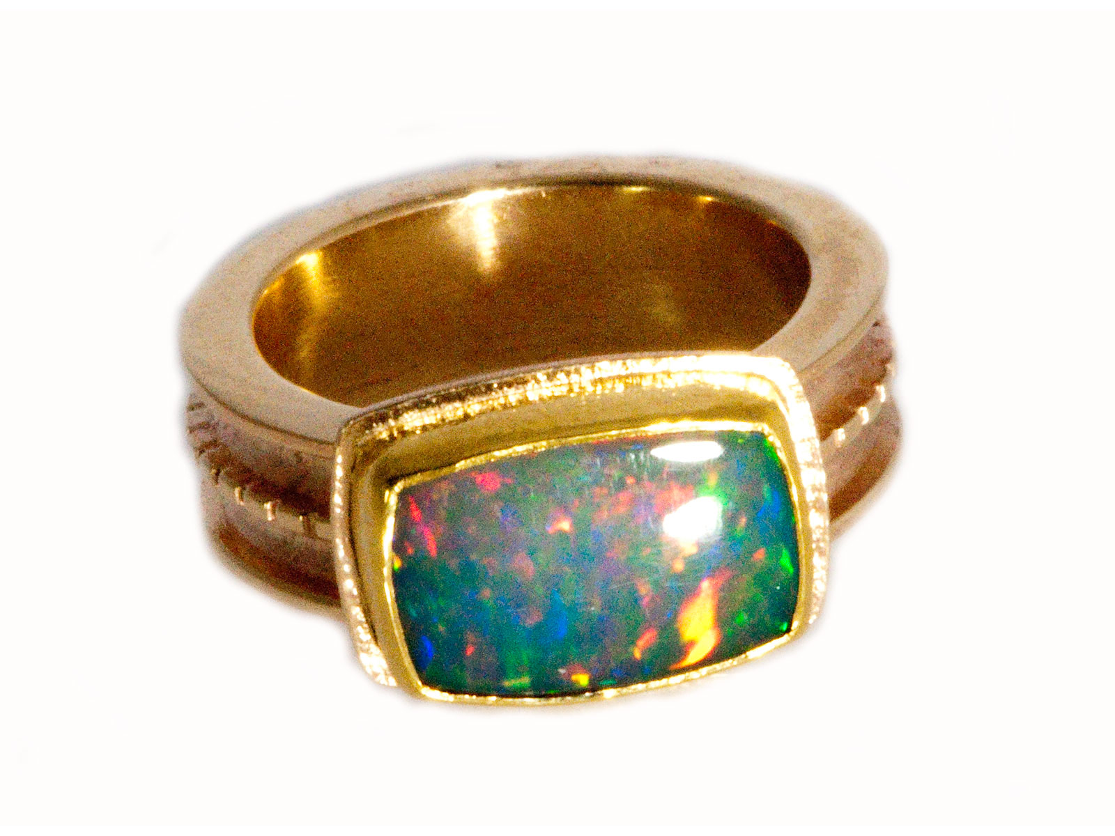 jewelry band ladies opal estate yellow diamond gold genuine ring