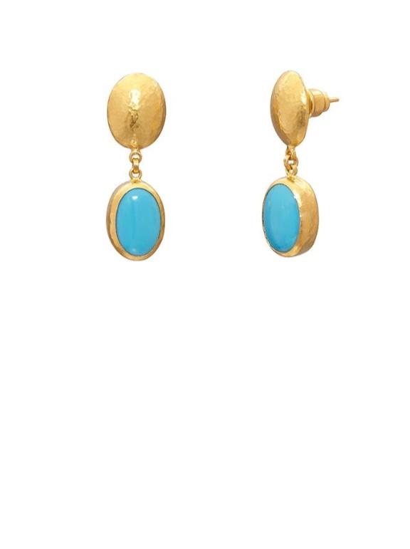 Gold Sleeping Beauty Turquoise Drop Earrings