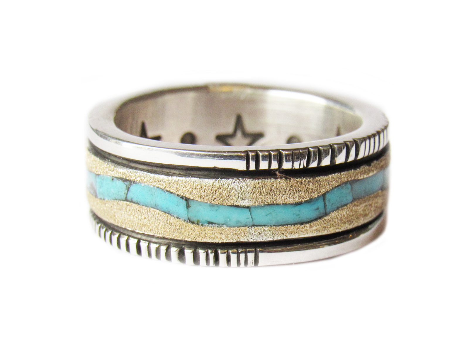 Gold Turquoise Inlay Ring