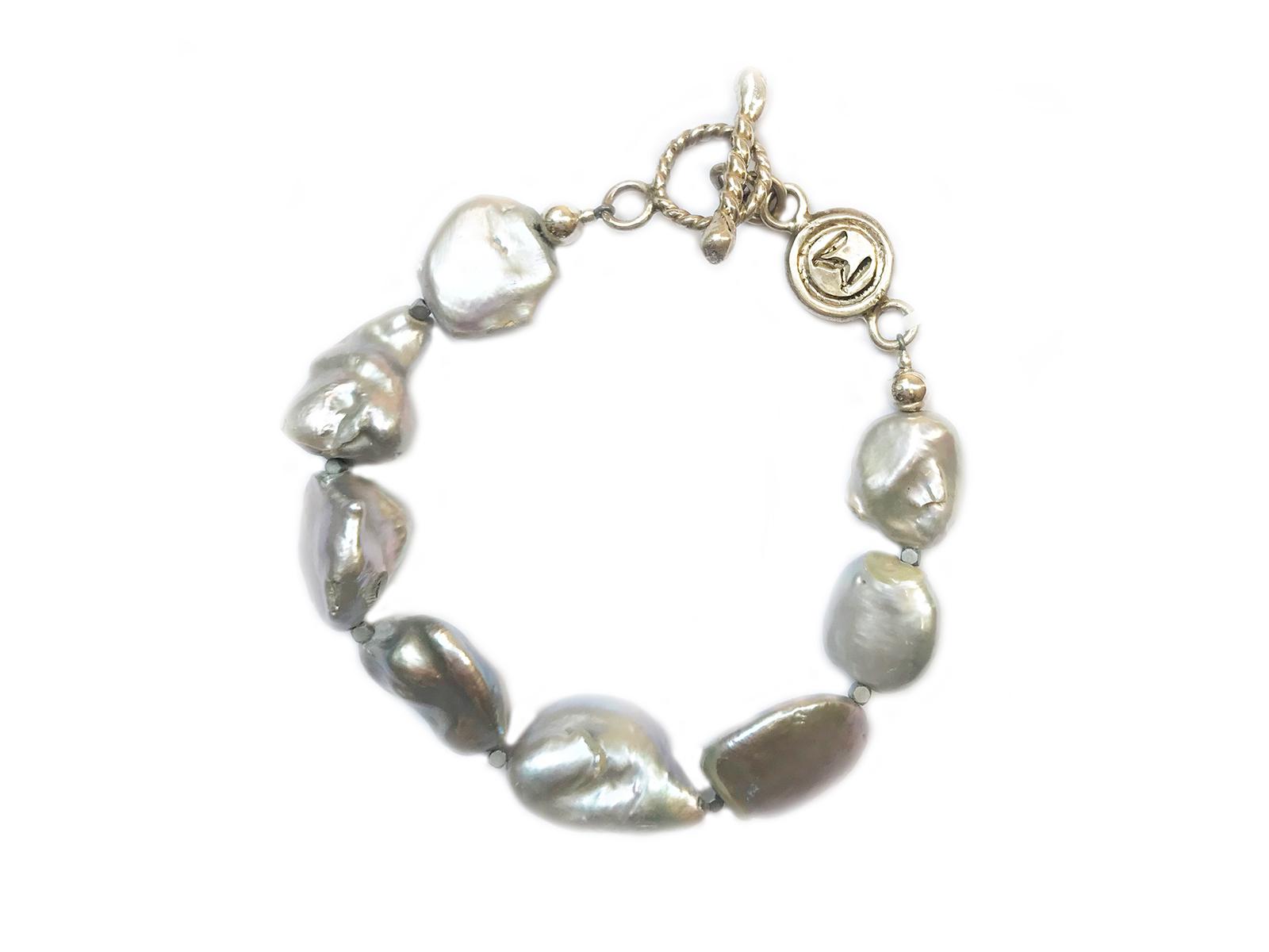 Grey Keshi Pearl Bracelet