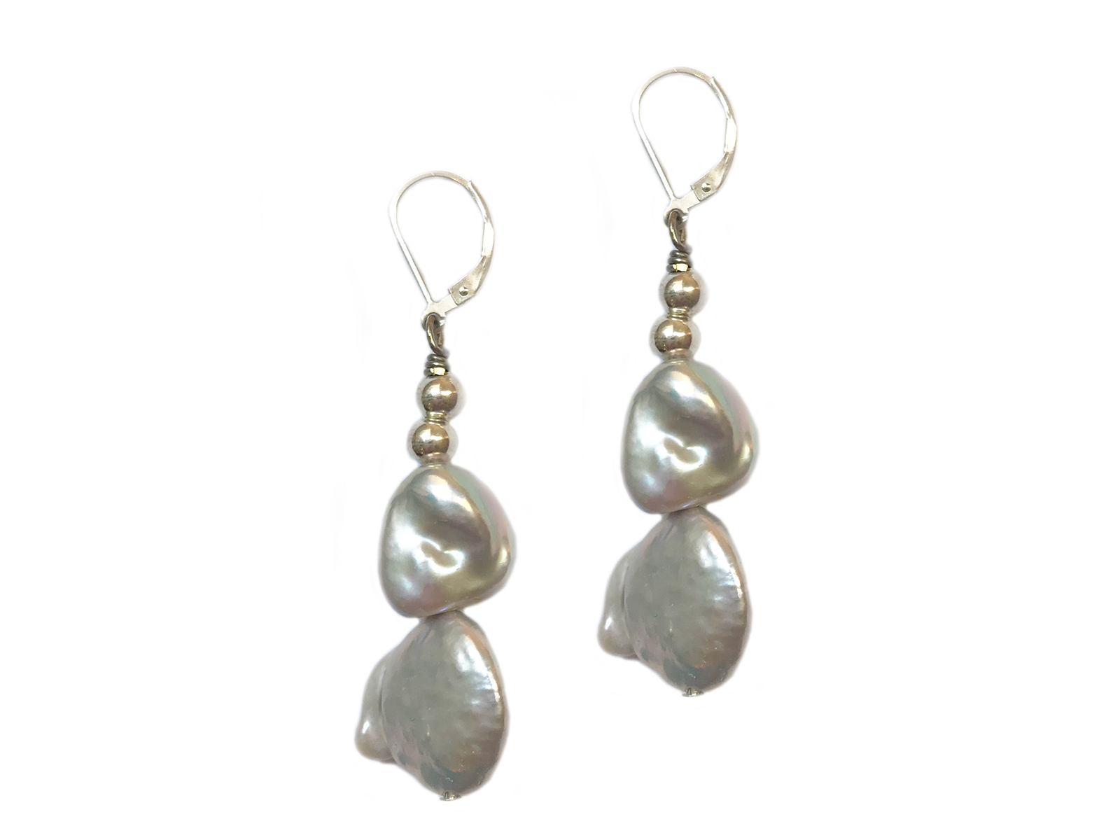 Grey Keshi Pearl Earrings