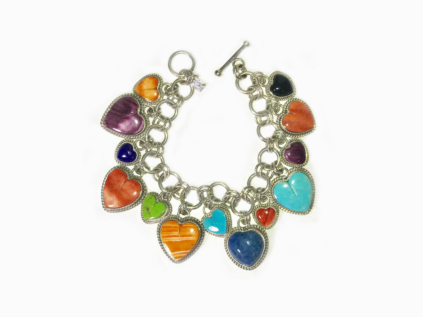 Multi Stone Heart Charm Bracelet