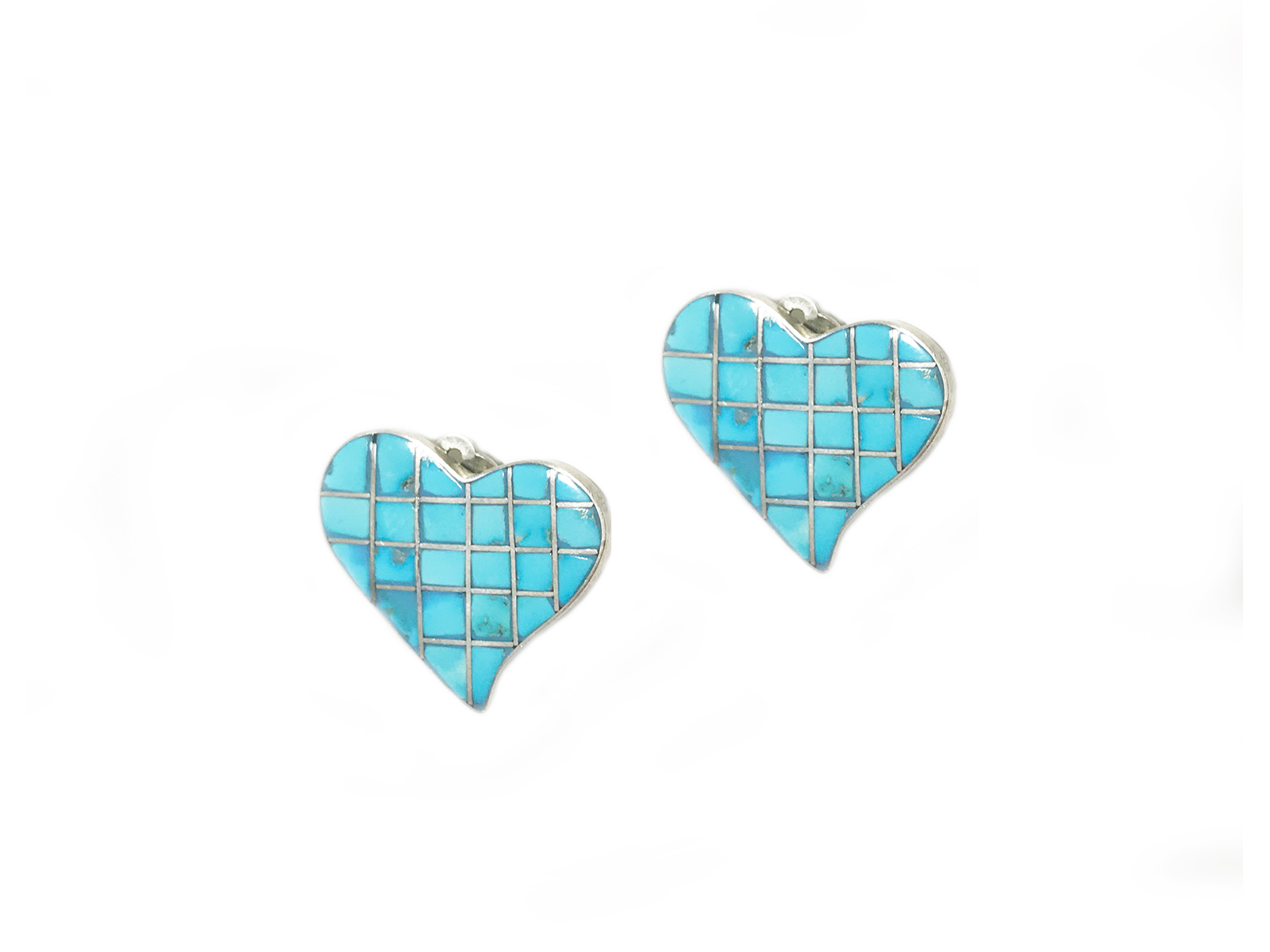 Turquoise Heart Clip Earrings