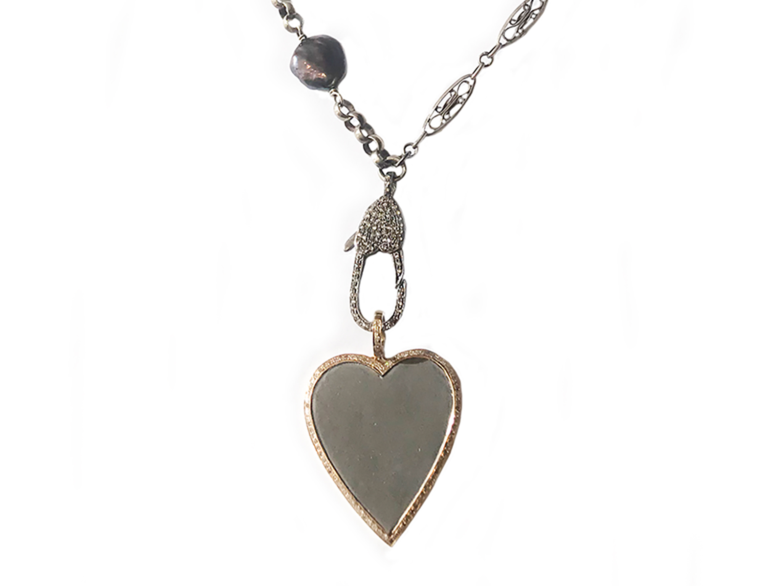 Silver Gold Diamond Pearl Heart Necklace