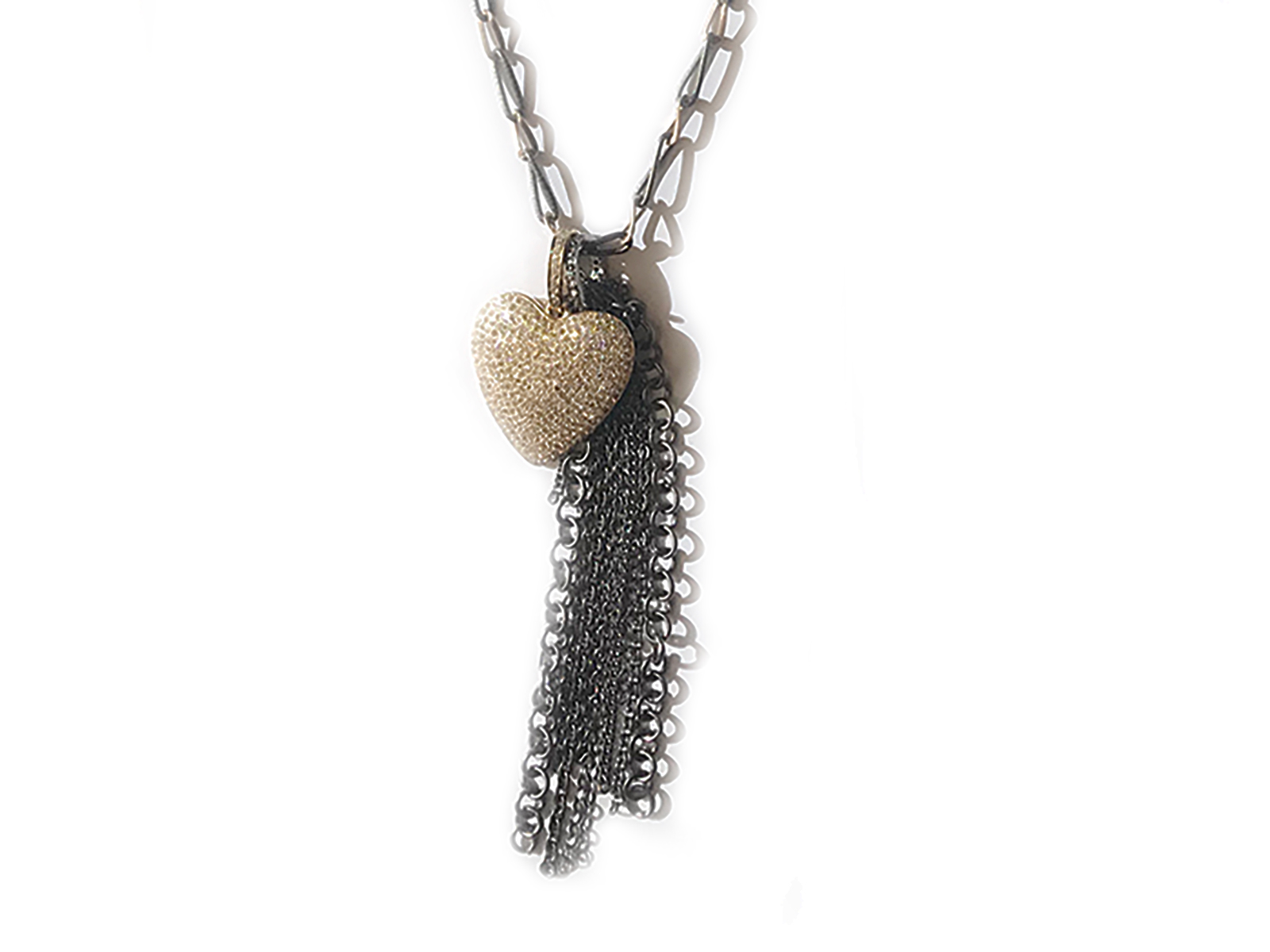 Gold Pave Diamond Heart Silver Fringe Necklace