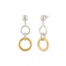 Hoopla Triple Drop Silver Gold Earrings