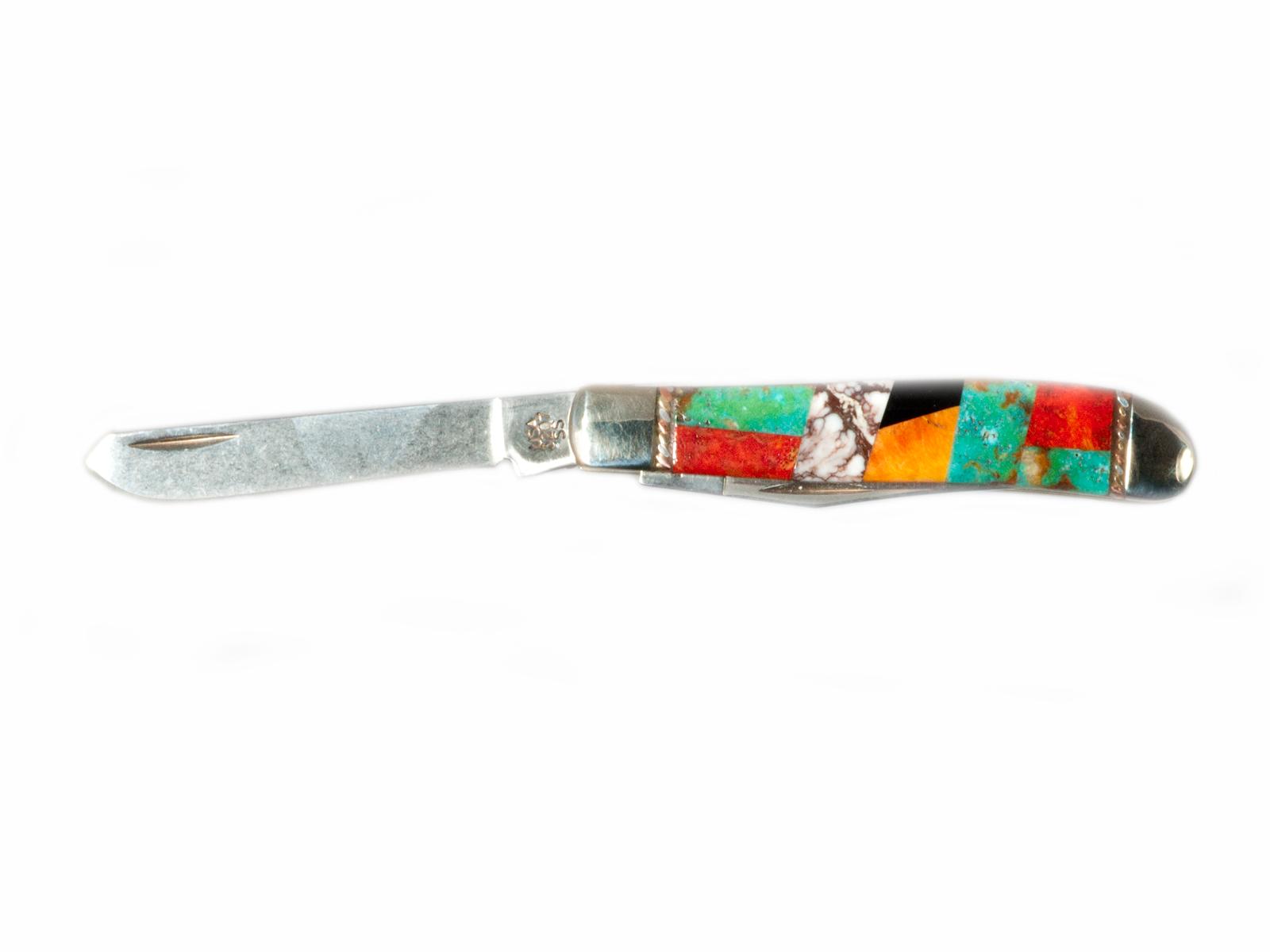 Handmade Mini Trapper Inlay Pocket Knife
