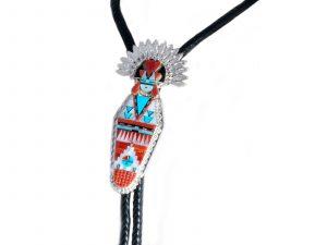 Zuni Inlay Corn Maiden Bolo Tie