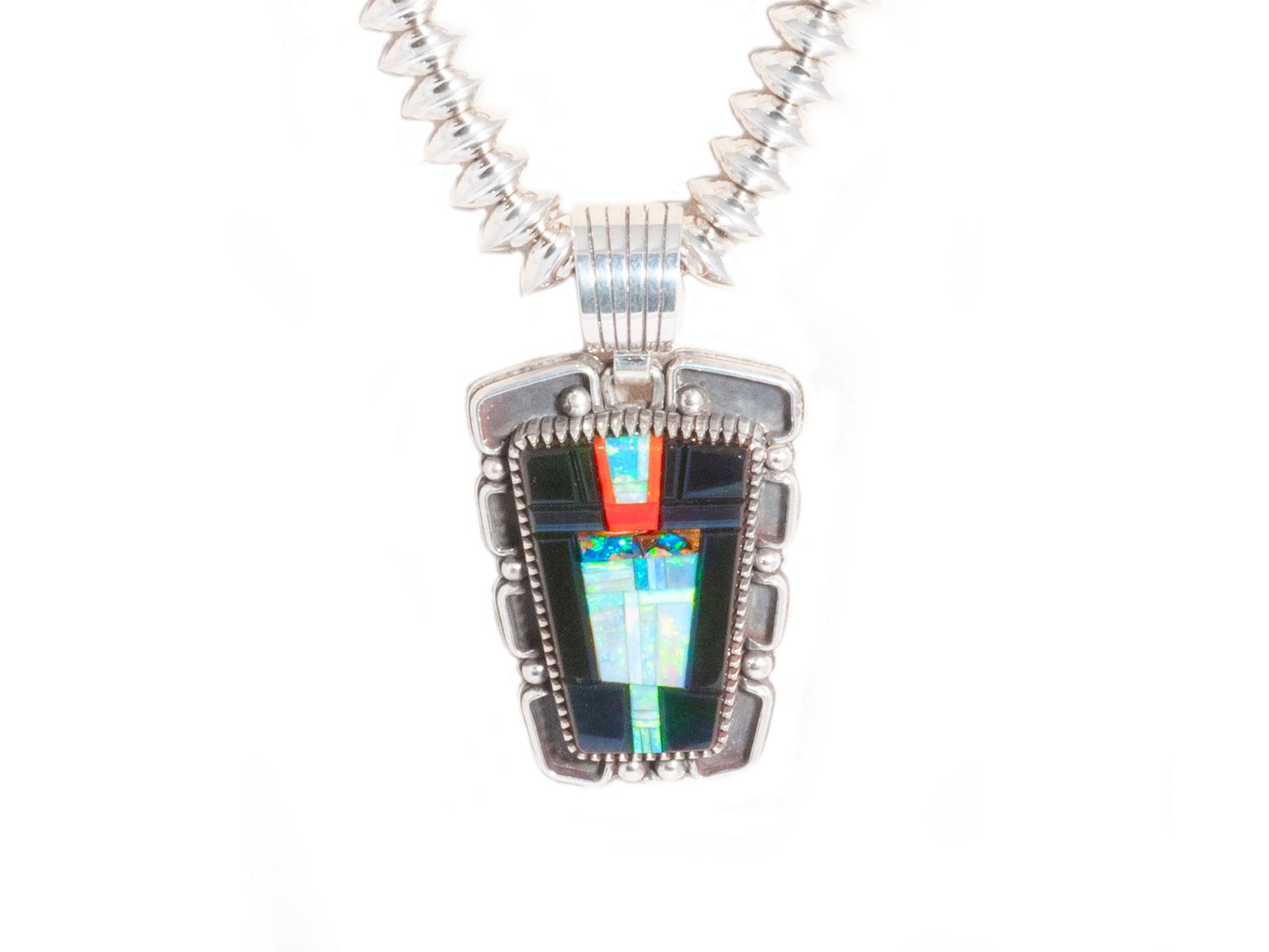 Coral Opal Black Jade Pendant