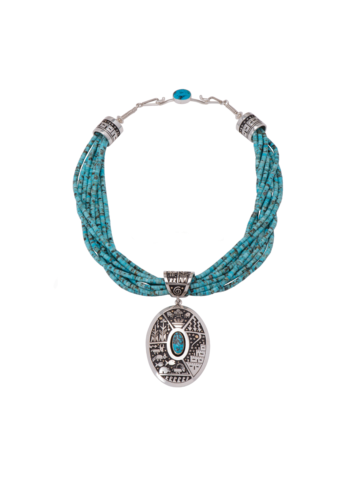 family beaded necklace american necklaces fetish multifamilyfetish multi zuni turquoise silver and native
