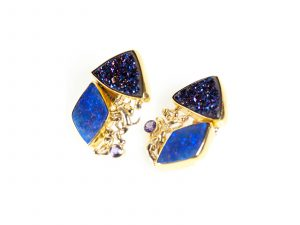 Drusy Quartz Gold Earrings