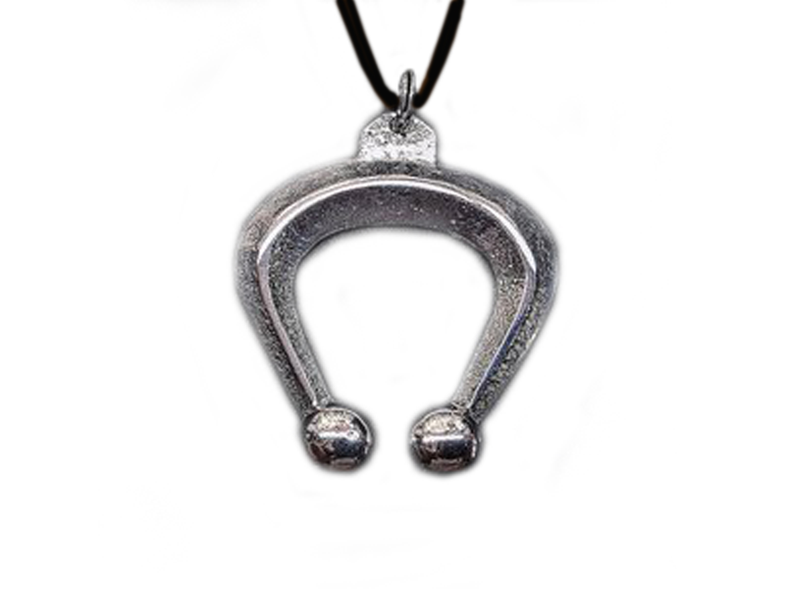 Silver Tufa Naja On Black Leather Necklace