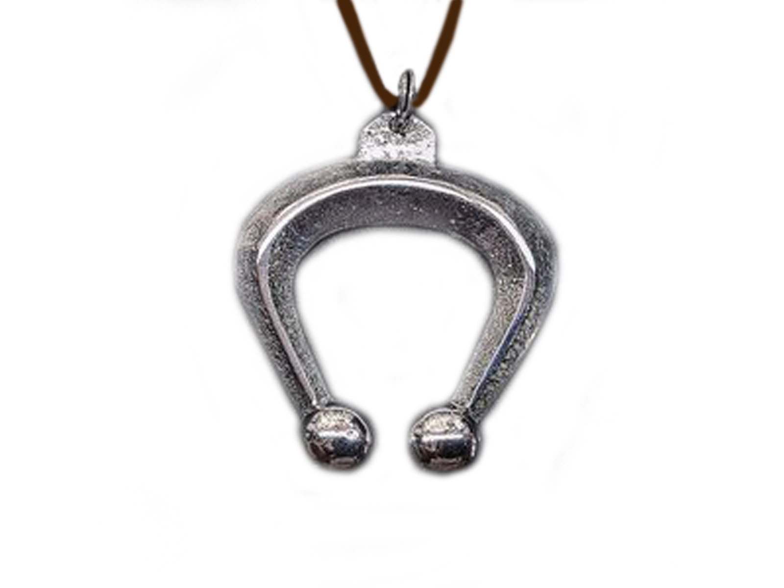 Silver Tufa Naja On Brown Leather Necklace