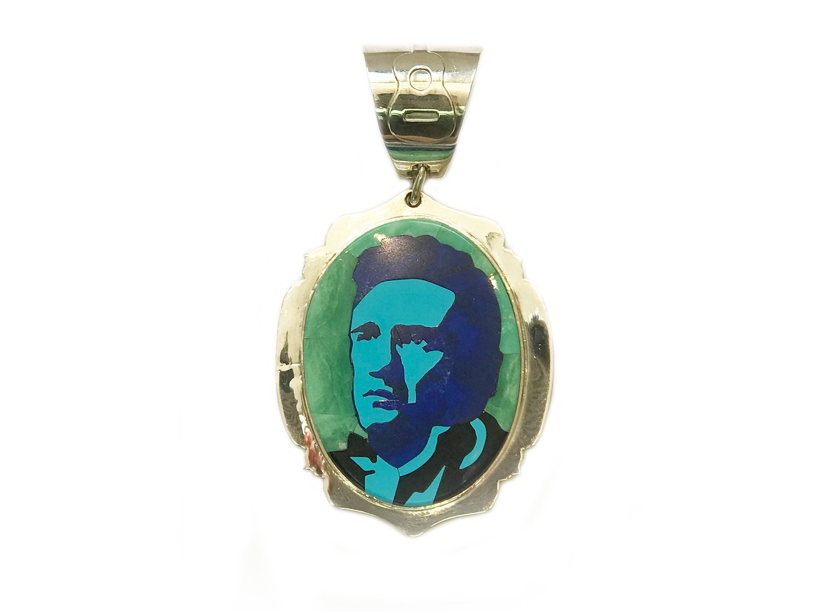 Handmade Johnny Cash Inlay Pendant