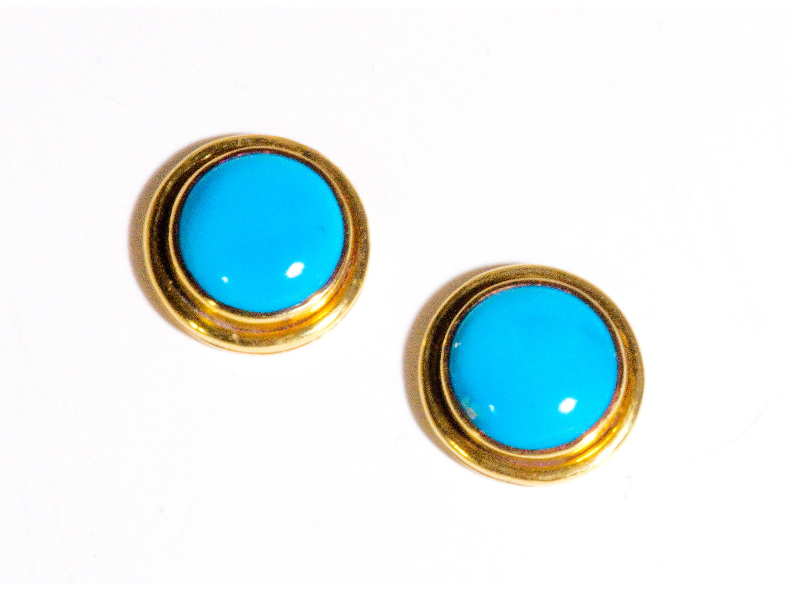 Kingman Turquoise Gold Earrings