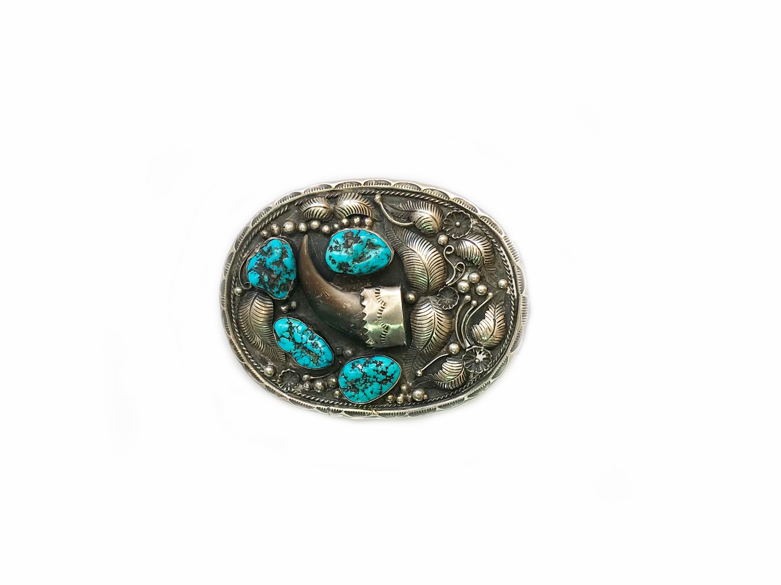 Kingman Turquoise Bear Claw Belt Buckle