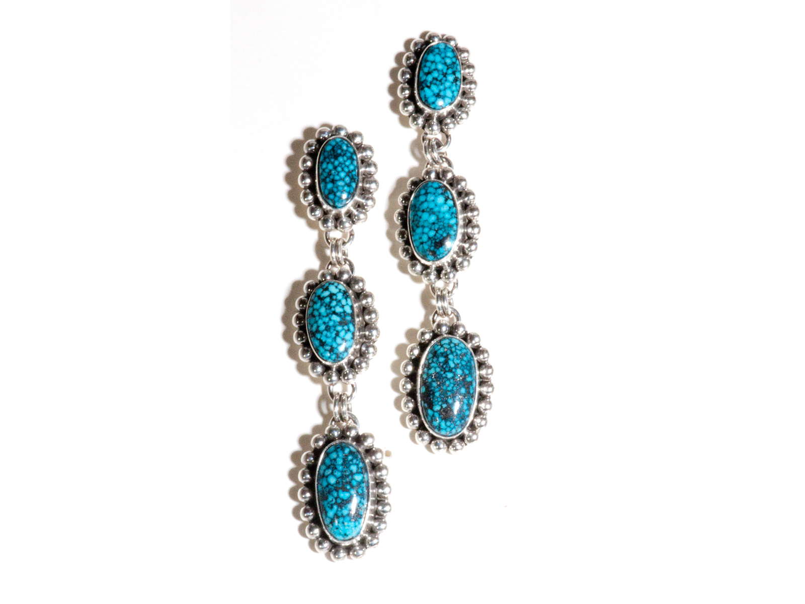 Spiderweb Kingman Turquoise Earrings