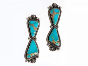 2 Stone Kingman Turquoise Earrings