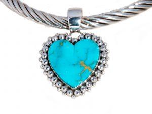 Kingman Turquoise Heart Pendant