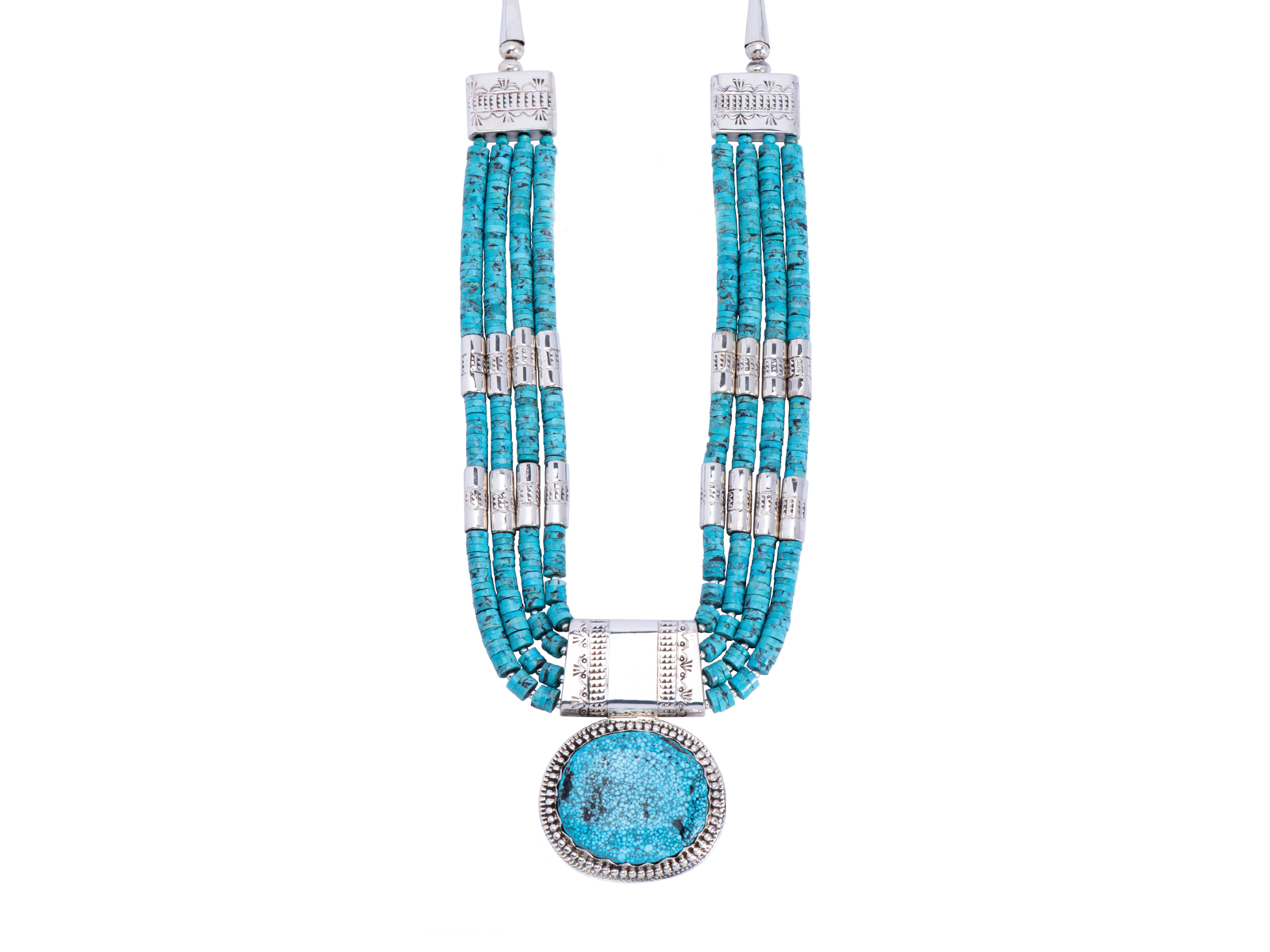 Kingman Turquoise Silver Statement Necklace