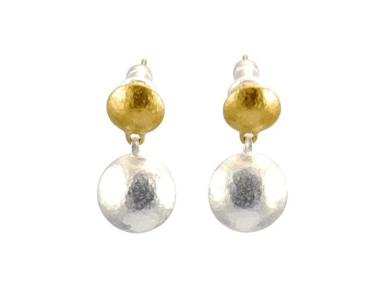 Two-tone Lentil 2 station drop earrings