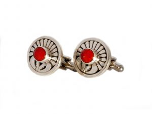 Sterling Silver Coral Cufflinks