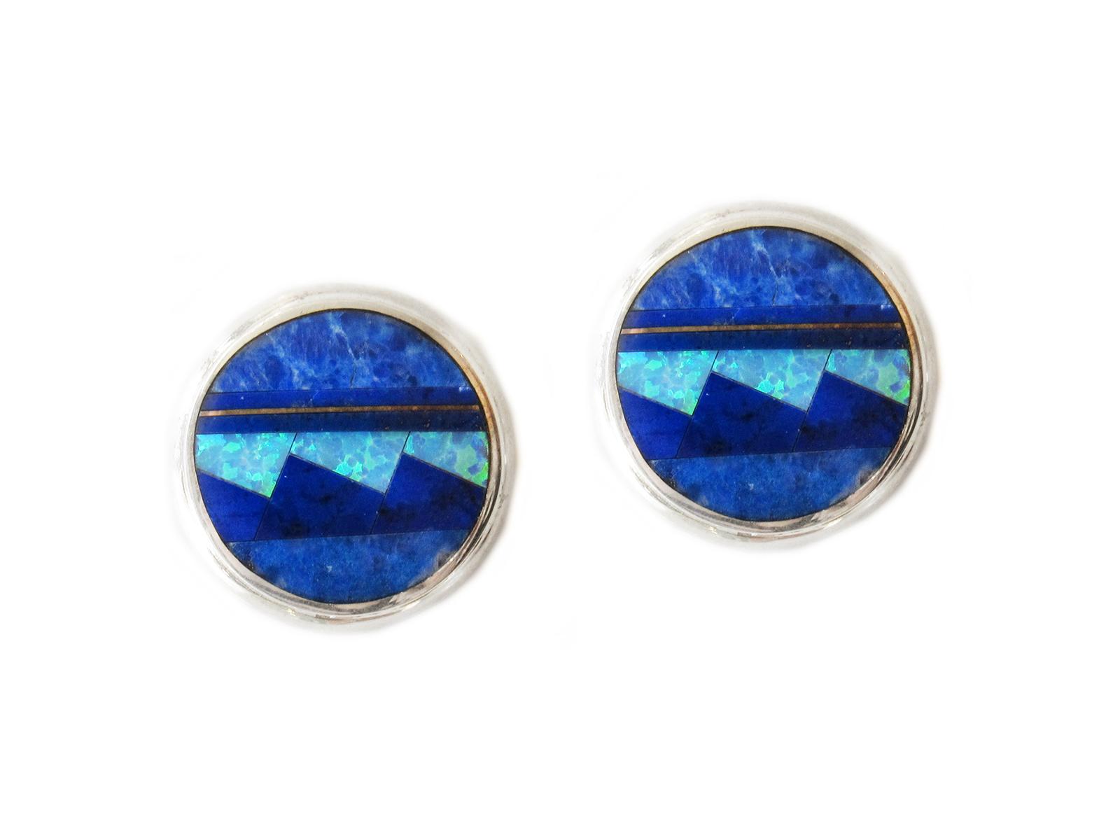 Lapis Opal Post Earrings