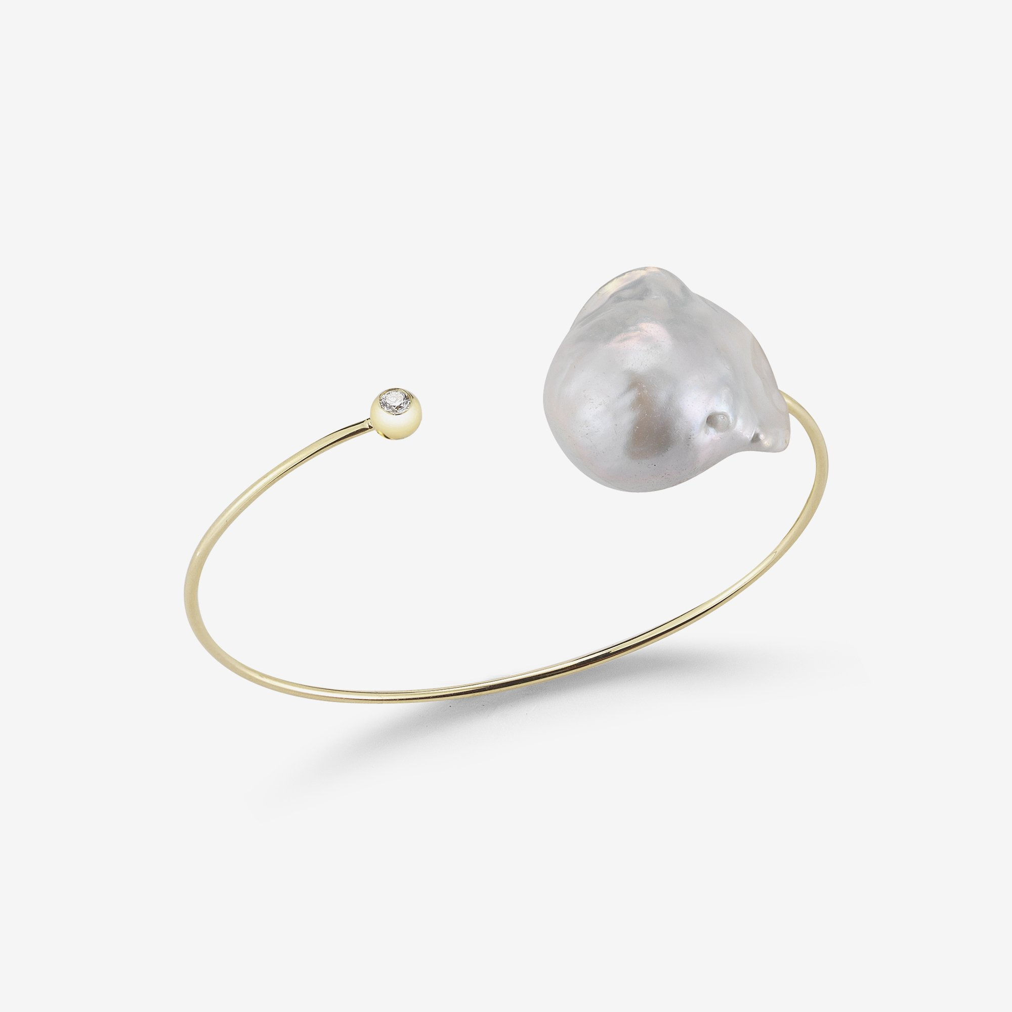Baroque White Pearl Diamond Cuff