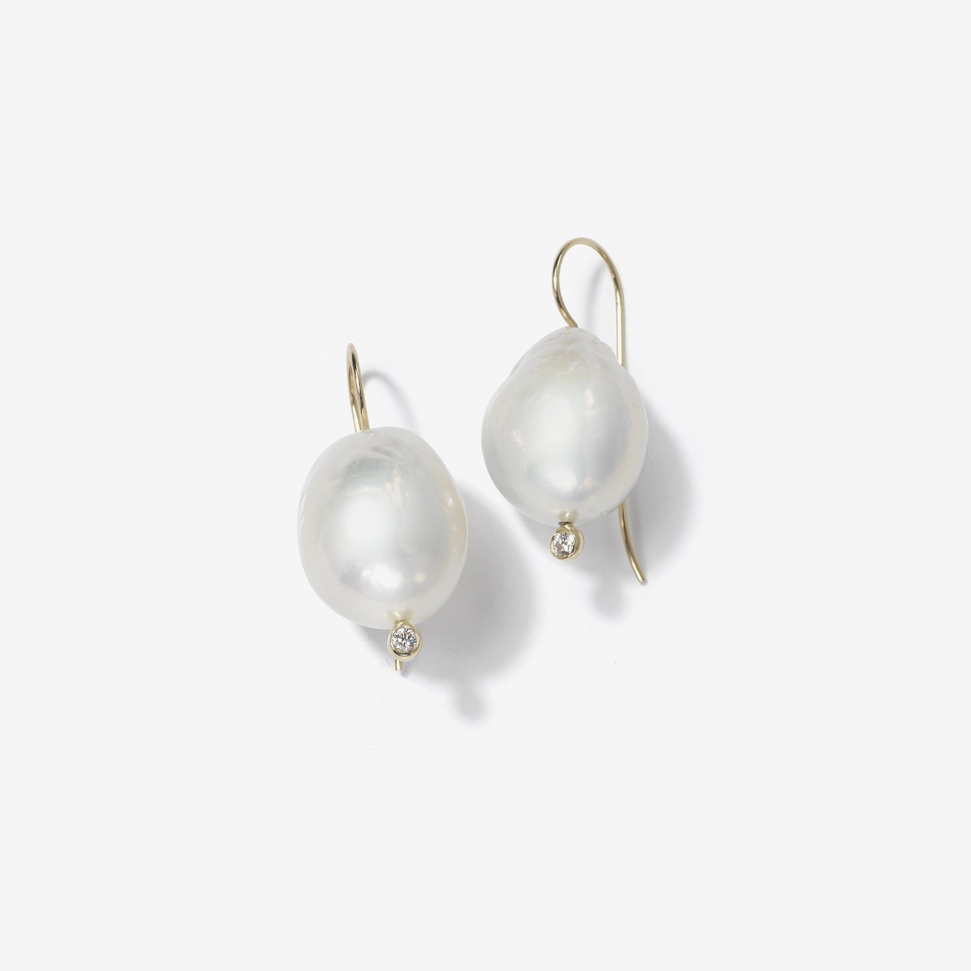 French wire Large White Pearl and Diamond Earring