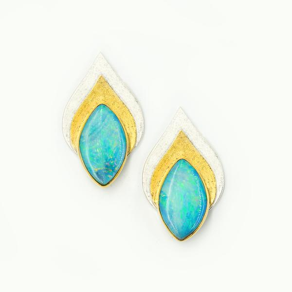 Aqua Boulder Opal Bimetal Post Earrings